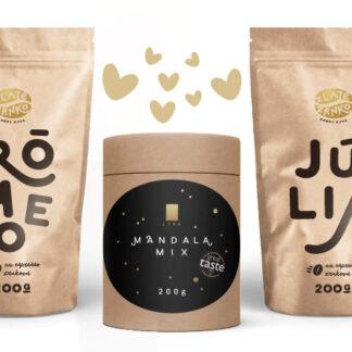 Pre zamilovaných - káva Zlaté Zrnko Rómeo a Júlia a čokoláda Lyra Mandala Mix 600g