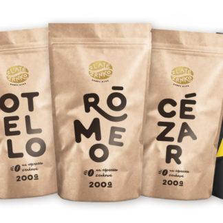 Káva Zlaté Zrnko - Spoznaj zmesi arabiky s robustou 1000g (Rómeo, Cézar, Otello, Hamlet, Smrťák)
