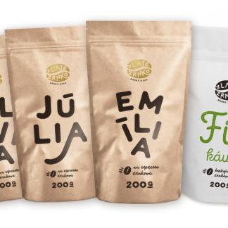 Káva Zlaté Zrnko - Spoznaj zmesi 100% arabika 800g (Emília, Júlia, Olívia, Fitkáva)